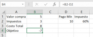 Imagen libro de Excel con valores para cálculo de impuesto mínimo