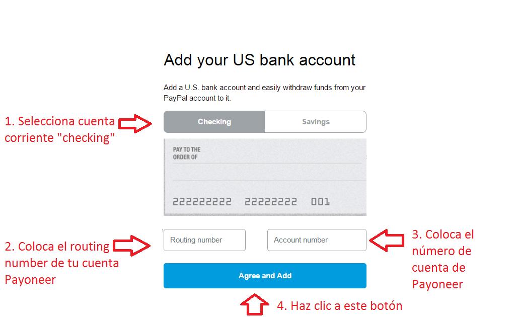 Formuario de cuenta Payoneer en PayPal
