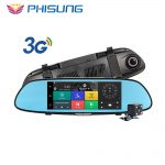 "Phisung 3G Car Camera 7""Touch Android 5.0 GPS dvr car video recorder Bluetooth WIFI Dual Lens rearview mirror Dash cam car dvrs"
