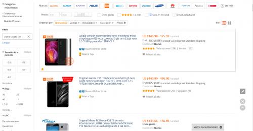 Categoría de celulares en Aliexpress
