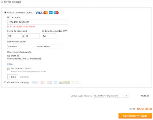 Agregar tarjeta de crédito a Aliexpress