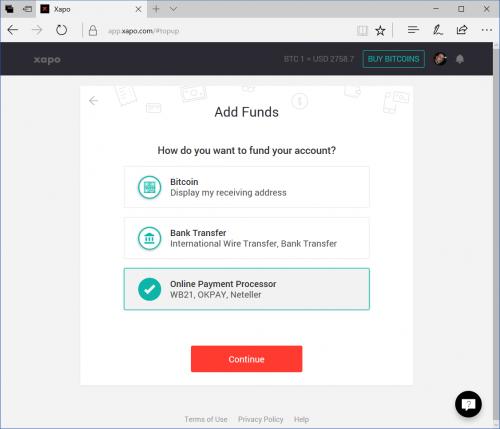 Agregar fondos en Xapo para comprar bitcoin