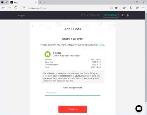 Resumen de agregar fondos con Neteller