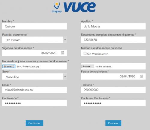 Campos a llenar en el formulario de VUCE
