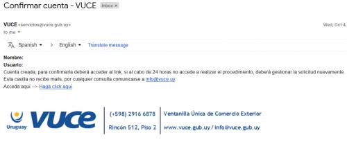 Email de confirmación de usuario en VUCE
