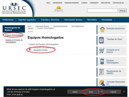 Página de equipos homologados por URSEC